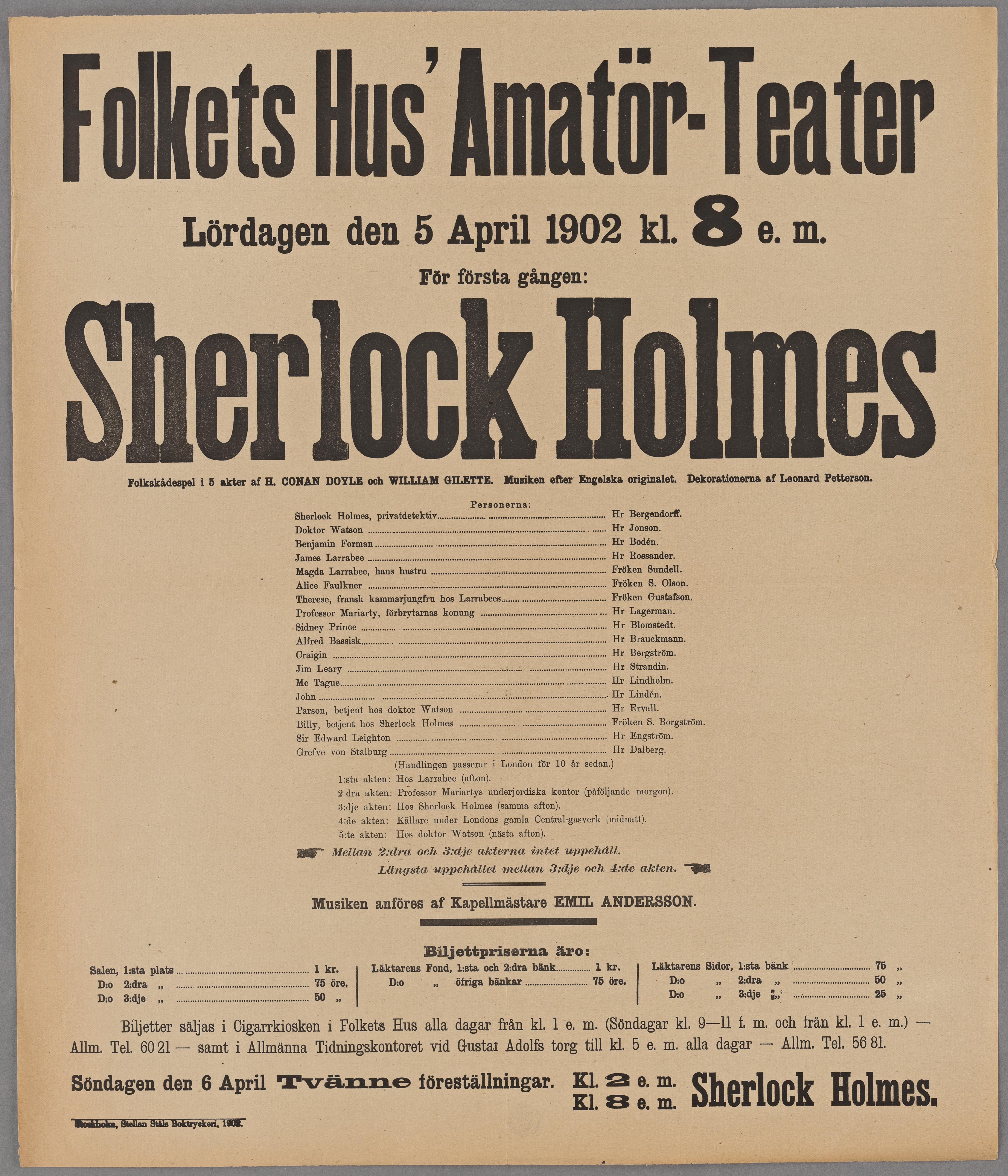Teaterprogram för Folkets Hus Amatörteater 5 april 1902