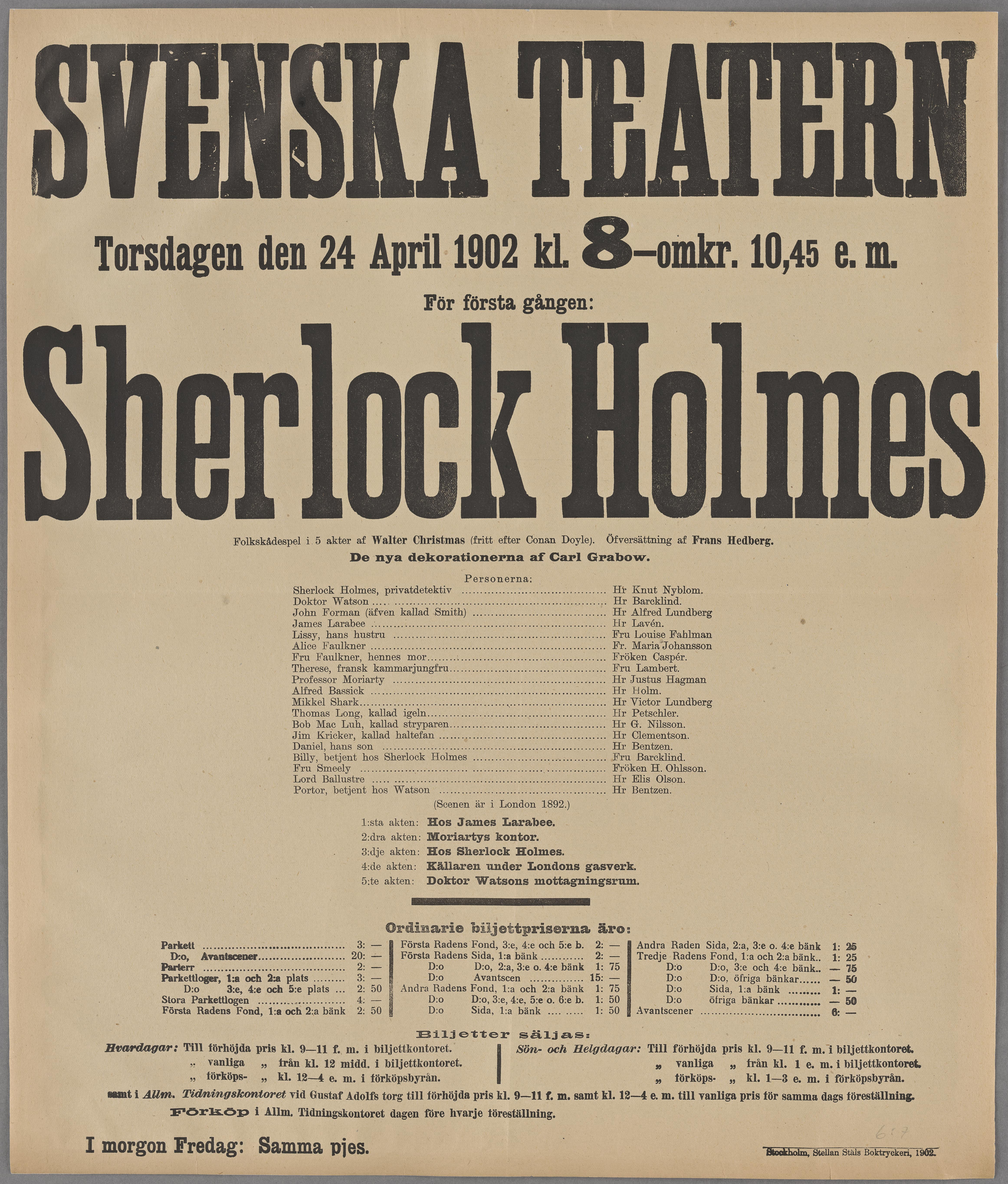 Teaterprogram för Svenska Teatern 24 april 1902