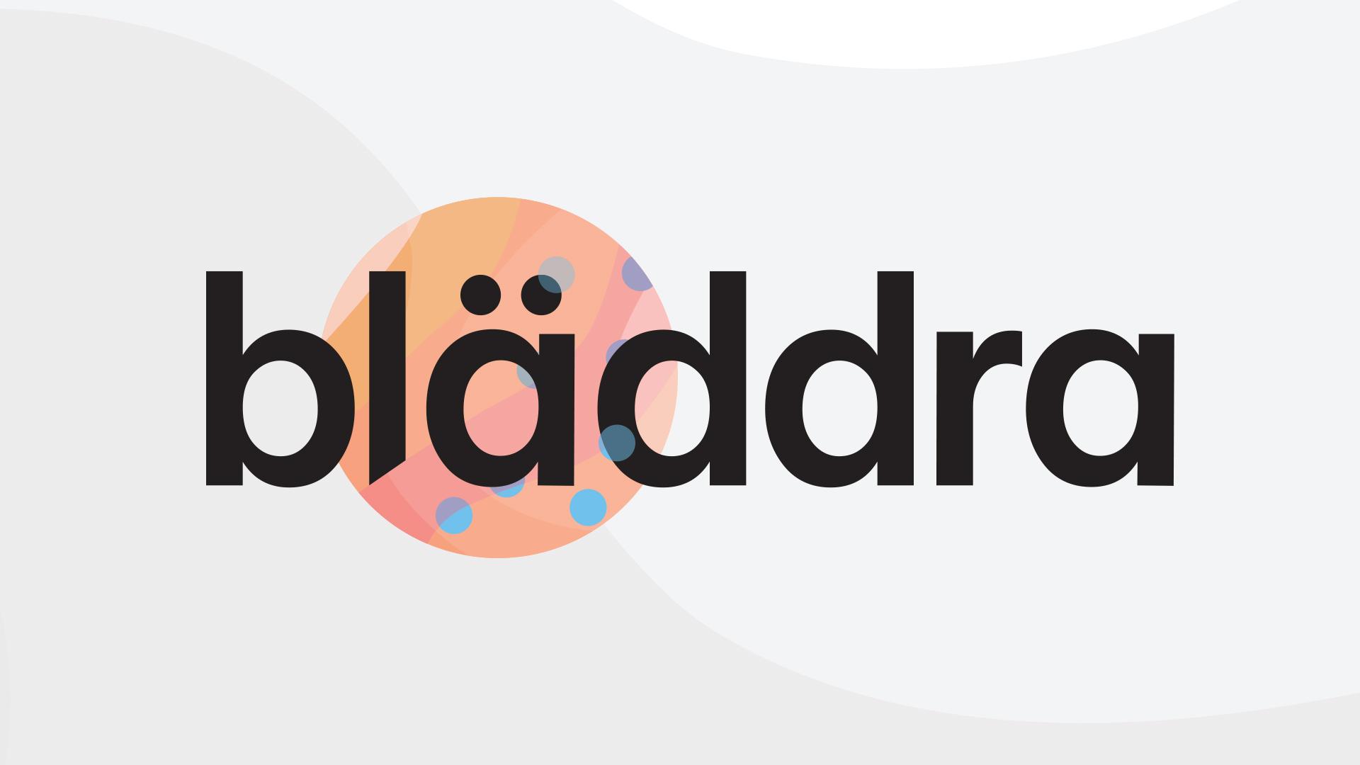 Bläddras logotyp mot en grå bakgrund