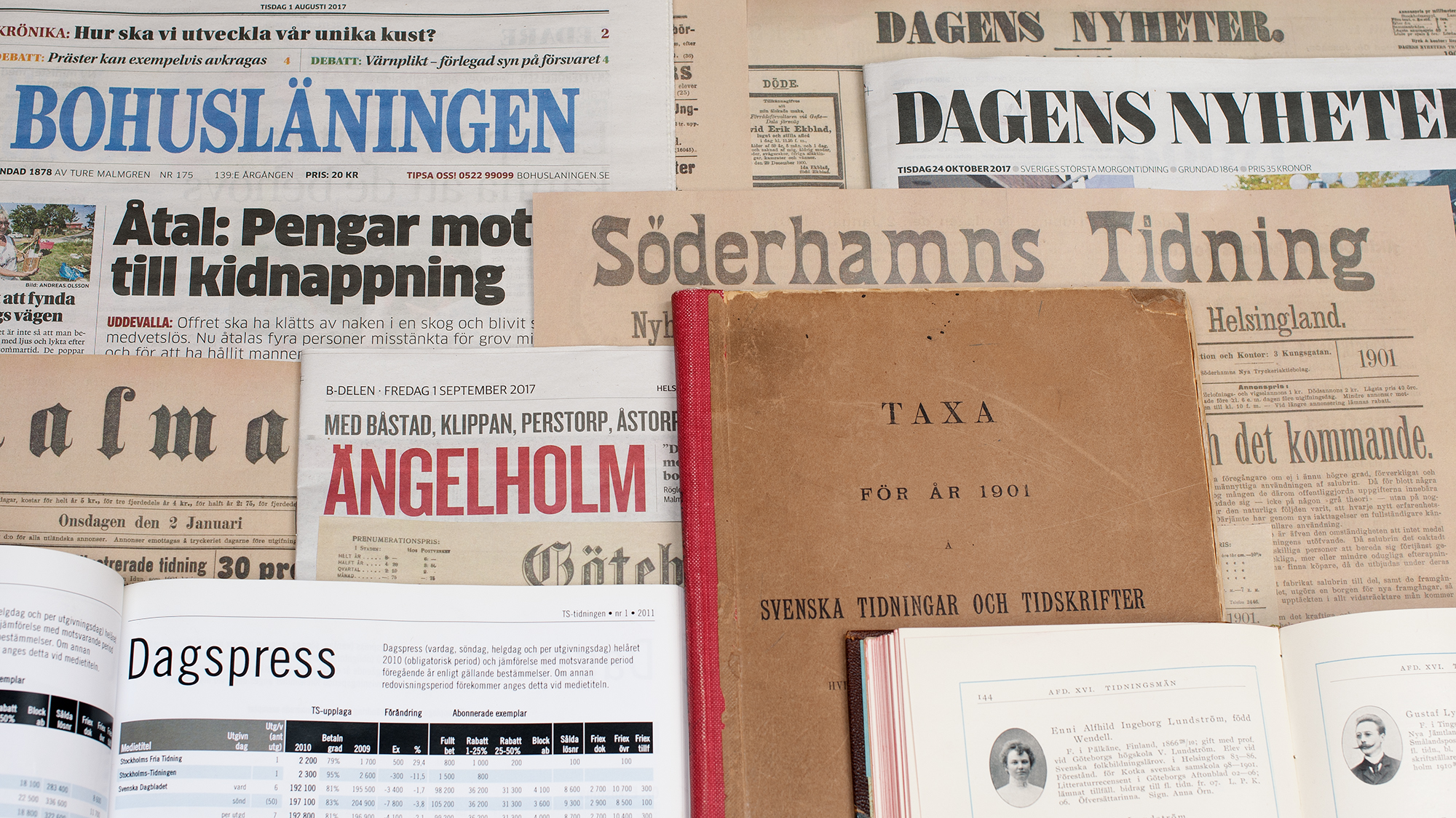 Collage of older newspapers.