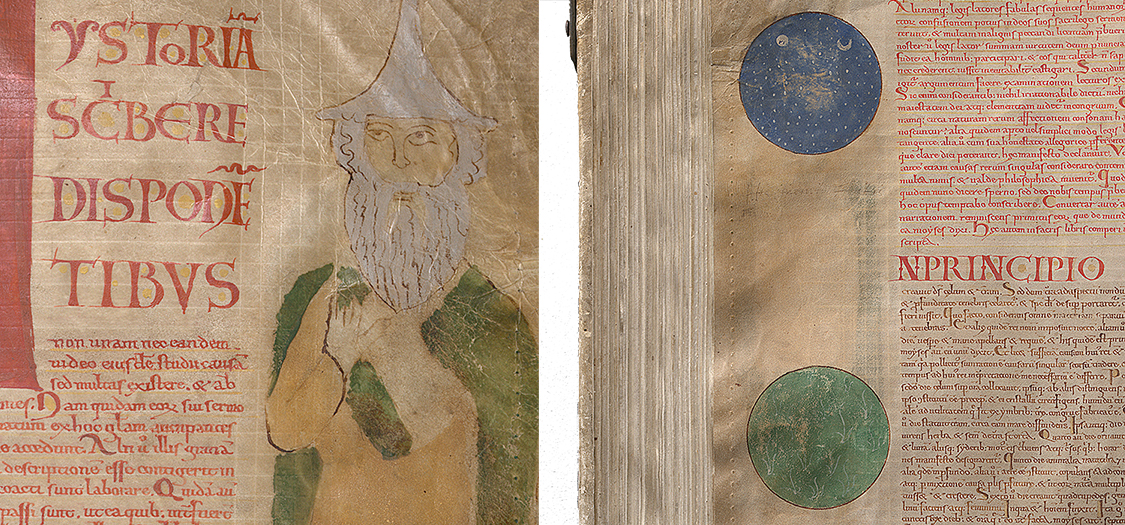 Two pages, one with a bearded man with a pointy hat and one with a blue and green circle.