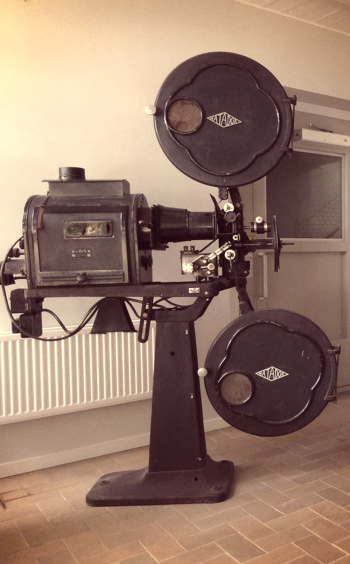 Old film projector of the brand Matador.